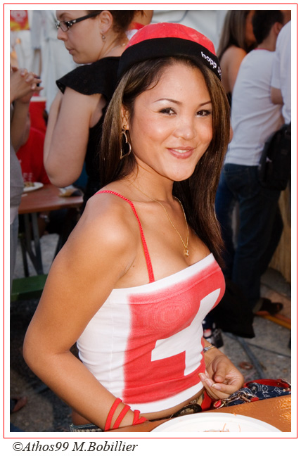 Suisse, supportrice de la Natie, match de foot  Suisse Corée
